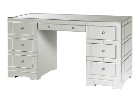 "57"" W, 7 DRAWER BEVELED MIRRORED DESK or VANITY, Hollywood Regency or GLAM, NEW!"