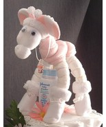 Pink GIRAFFE Diaper Cake TOPPER Girl Baby Showe... - $28.00