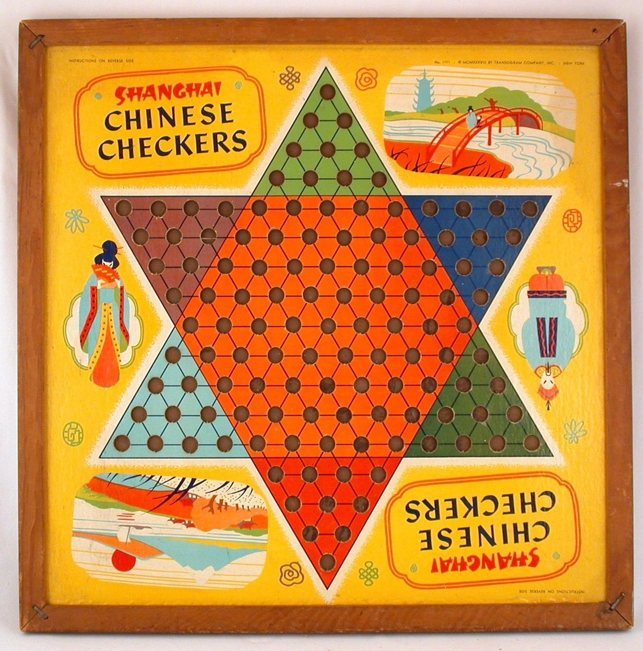 Shanghai Chinese Checkers 2-Sided Board Game Halsam