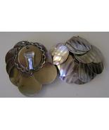 Earrings, Clip Back, Silvertone Disc Cluster - $10.00