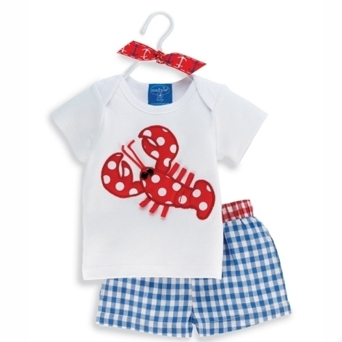 MUD PIE Boy's Little Pincher Lobster Short Set SZ 12M-3T