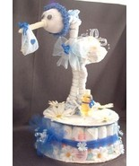 Blue STORK Baby Boy Shower Centerpiece Diaper Cake - $48.00