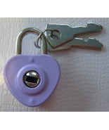 Mini Lavender Heart Two Key Working Lock 7/8 In... - $4.00