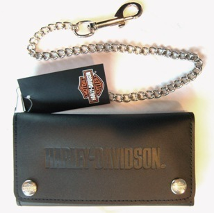"Harley Davidson 7"" Tri Fold Wallet Black Leather Credit Card Chain Made in USA"