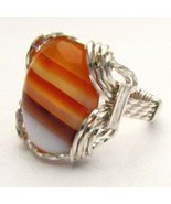 Wire Wrap Red/White Sardonyx 925 Silver Ring an... - $72.00