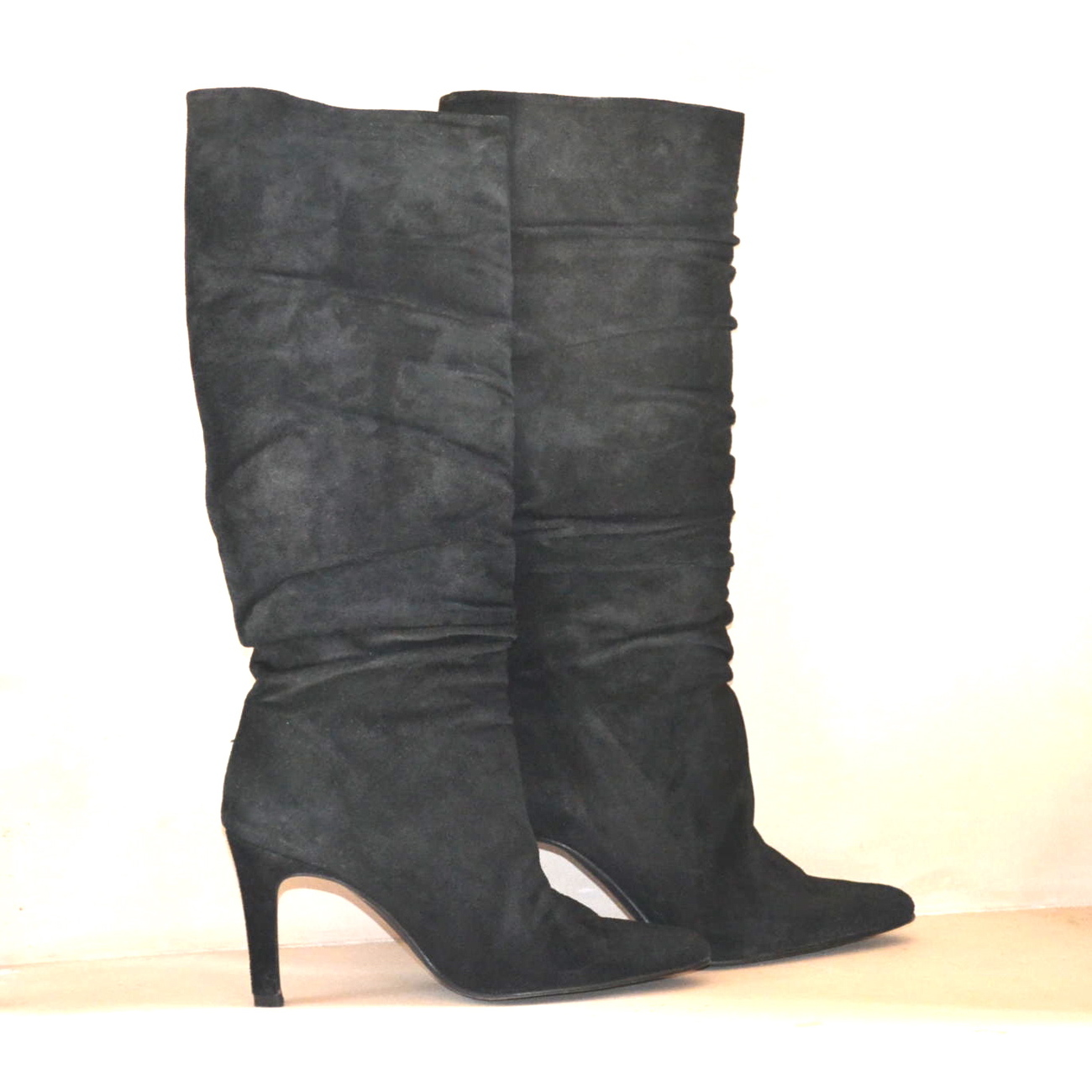 Banana Republic Boots Chiara Black Ruched Suede Stiletto Spike Heel 6M LNIB Chic