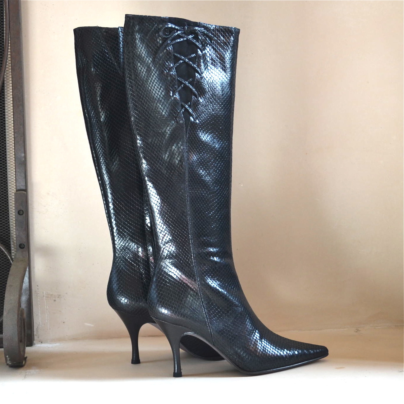 Banana Republic Boots Leather CLEO Black Snake Reptile Print Stiletto Heels 6M