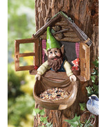 Whimsical Window Gnome Tree Mount Birdfeeder