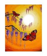 Sunset Peacock Butterflies Zen Wisteria Yellow ... - $299.00
