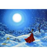Original Painting Miko Winter Japanese Shinto B... - $300.00