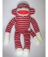 Sock Monkey Plush Purple Stripes Red Heel Mouth... - $10.77