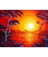 San Francisco Red Surreal Sunset Seascape Origi... - $300.00