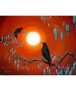 Two Crows Raven Black Bird Orange Fine Art Orig... - $299.00