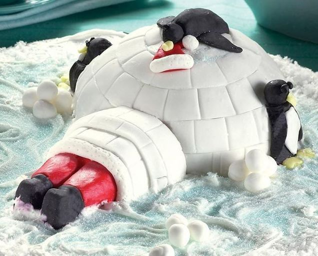 Igloo With Santa And Penguins Christmas Silicone Baking Pan