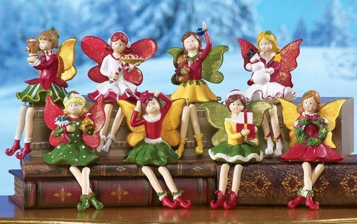 Image 0 of Holiday Fairy Shelf, Mantel or Window Sitter Figurines