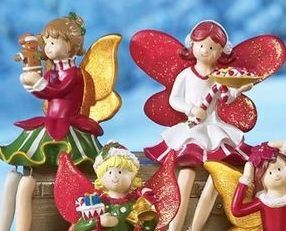 Image 1 of Holiday Fairy Shelf, Mantel or Window Sitter Figurines