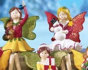 Image 3 of Holiday Fairy Shelf, Mantel or Window Sitter Figurines