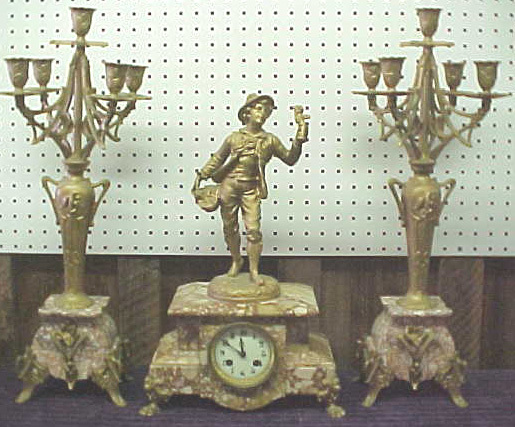Antique Pink Marble Clock Set with Candleabras - 1800s French 3 Pieces Set