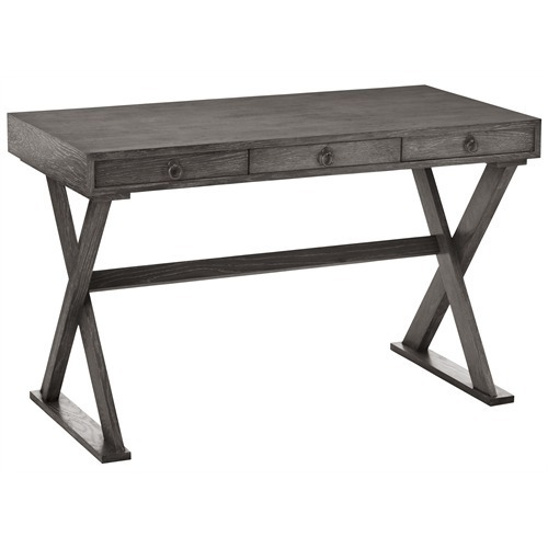 GRAY LIMED OAK X BASE DESK  3 Drawers  48  W  INDUSTRIAL LOFT  Coastal Chic