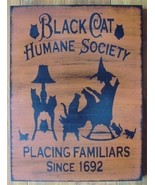 Primitive Black Cats Humane Society Signs Kittens Witches Halloween Folk Art