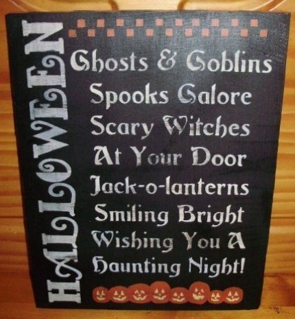 Primitive Halloween Sign POEM Witches Decorations Folk Art Pumpkins Ghosts Cats