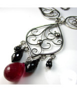 Ruby Chandelier Necklace - Black spinel, ruby a... - $286.00