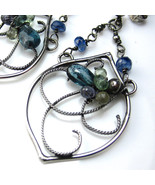 Moss Kyanite and Sapphire Earrings - $125.00