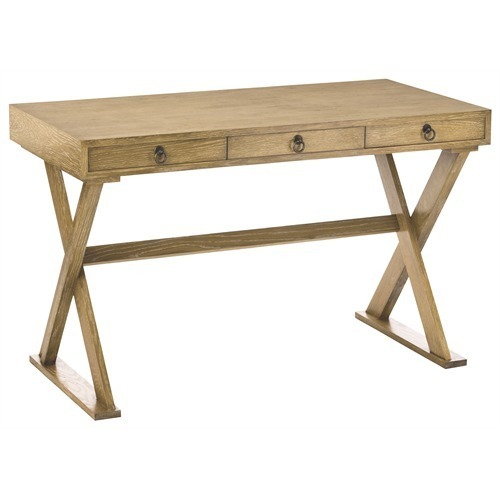 "NATURAL LIMED OAK, X BASE DESK, 3 Drawers, 48"" W, INDUSTRIAL LOFT, Coastal Chic"