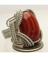 Wire Wrapped Sterling Silver Red Sardonyx Ring ... - $130.00