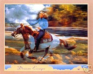 Dream Escape Cloud Rider Cowgirl Art Poster Print IMP