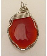Wire Wrapped Solid Sterling Silver Carnelian Pe... - $112.07