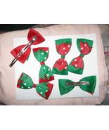 Hair bow bows pretty red green white Lot 3 Chri... - $7.85