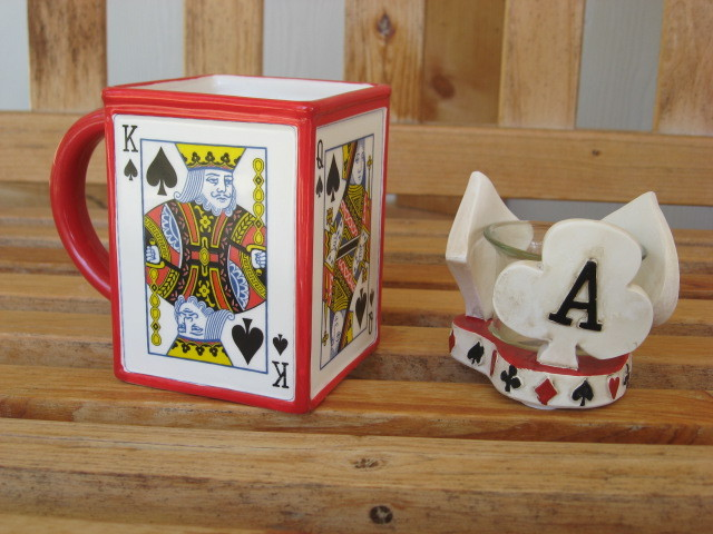 Card Player Poker Spades Gift Set Candle Holder and Mug Cup