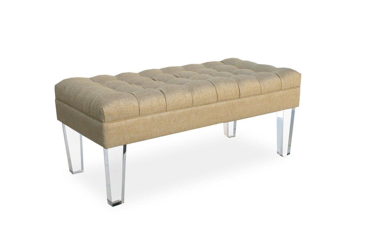 TUFTED LUCITE BENCH, 48W x 24D, Acrylic Legs, Hollywood Regency GLAM, 3 COLORS!