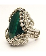 Wire Wrap Berry Wire Malachite Silver Ring - $200.00