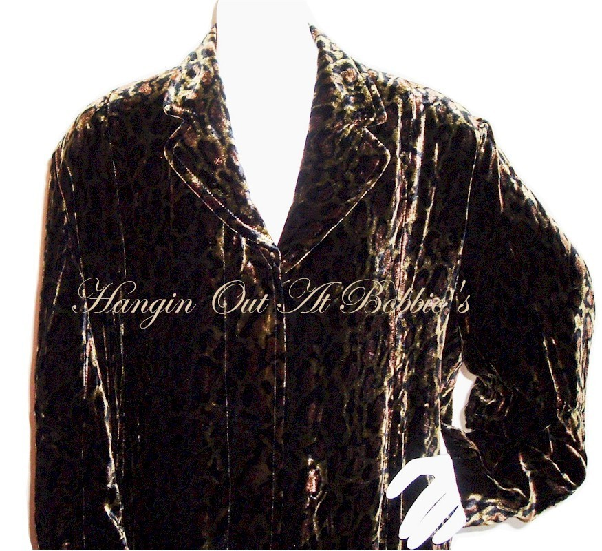 Leopard Animal Print Burn-Out Velvet Long Coat Large $279