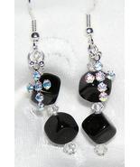 Black Onyx, Swarovski Crystal and Sterling Silv... - $14.00