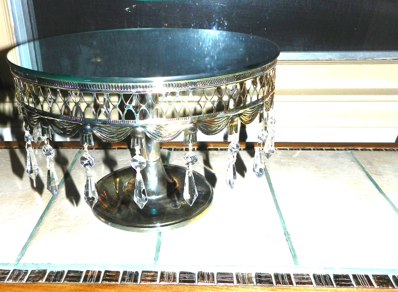 Davco Silver Plated Mirrored Cake Stand on Pedestal-Hanging Crystal Pendants