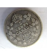 1903-H Canadian Silver 5 Cent Piece - G+ - $3.50