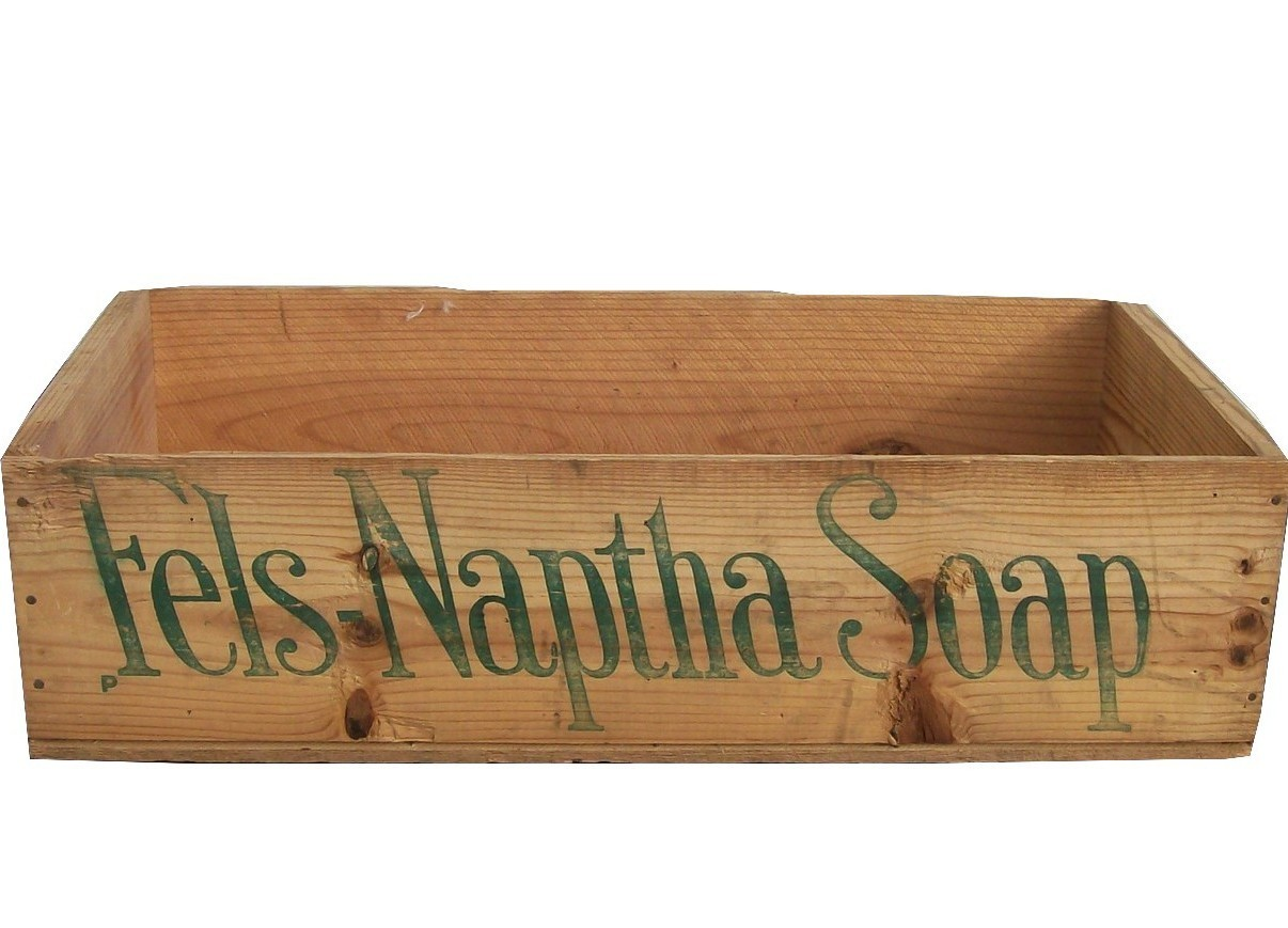 Fels Naptha Soap Crate Wood Advertising Shipping c1930-1940 EUC Home Decor