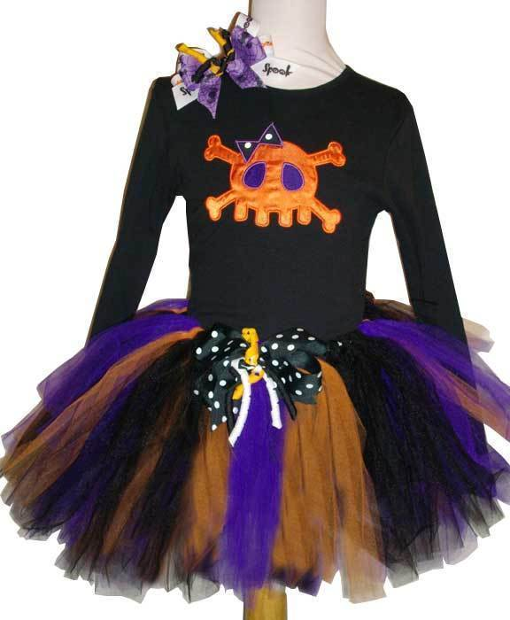 Appliqued Skull Diva Girls Tutu Set