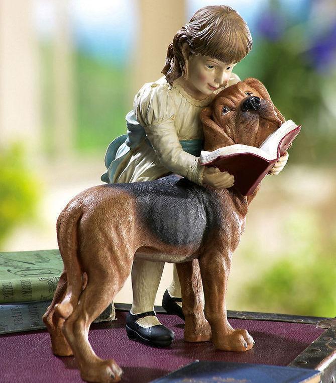 Girl W/ Dog Decorative Garden Statue