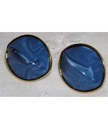 BLUE LUCITE GOLDTONE POST EARRINGS   - $6.00