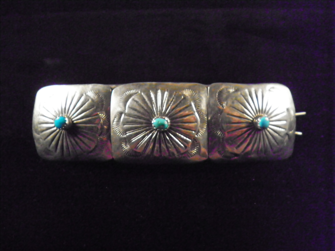 Vintage 1970 Sterling Navajo Concho Barrette WITH APPRAISAL
