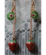 Strawberry Charm & Millefiore Dangling Earring... - $15.00