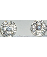 FASHION SILVER and CRYSTAL BUTTON EARRINGS - $5.00