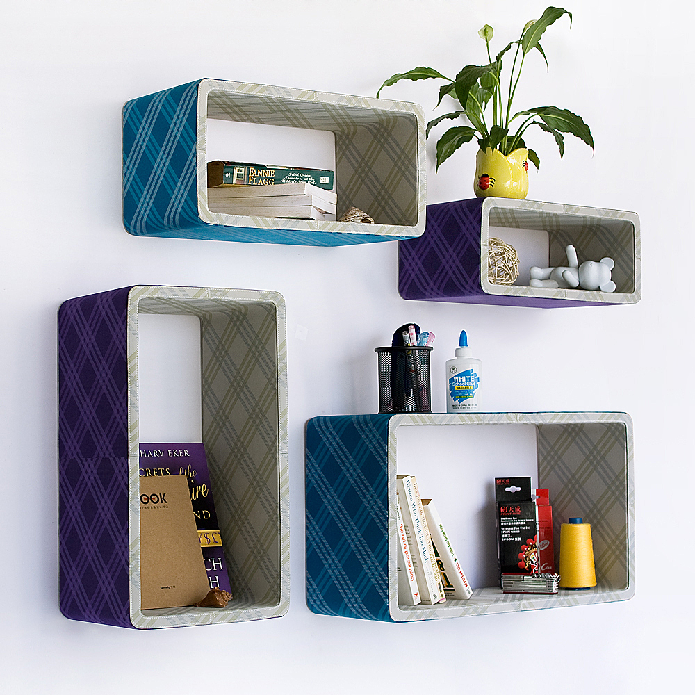 Purple   Blue Plaid  Rectangle Leather Wall Shelf