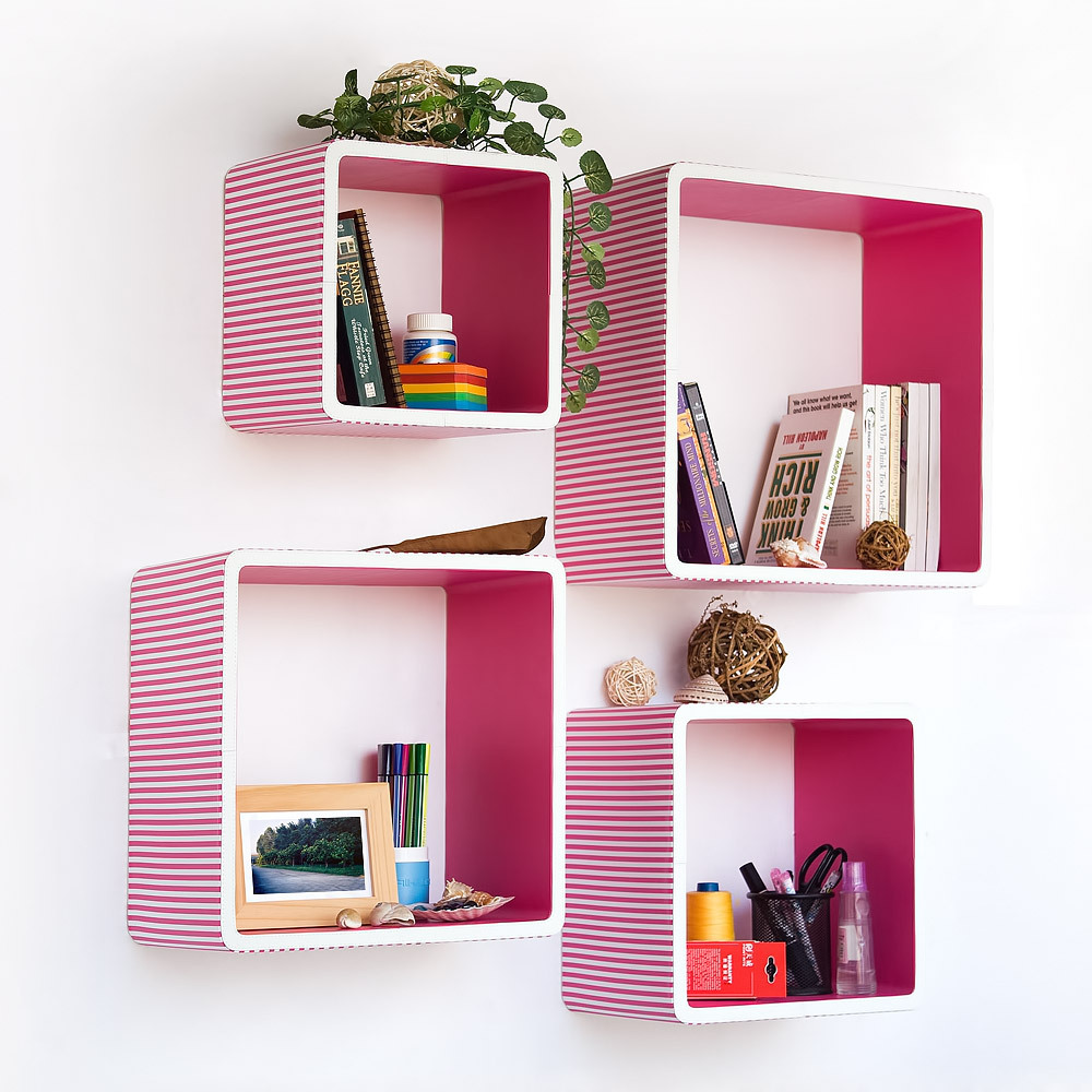 Pink Strip  Square Leather Wall Shelf