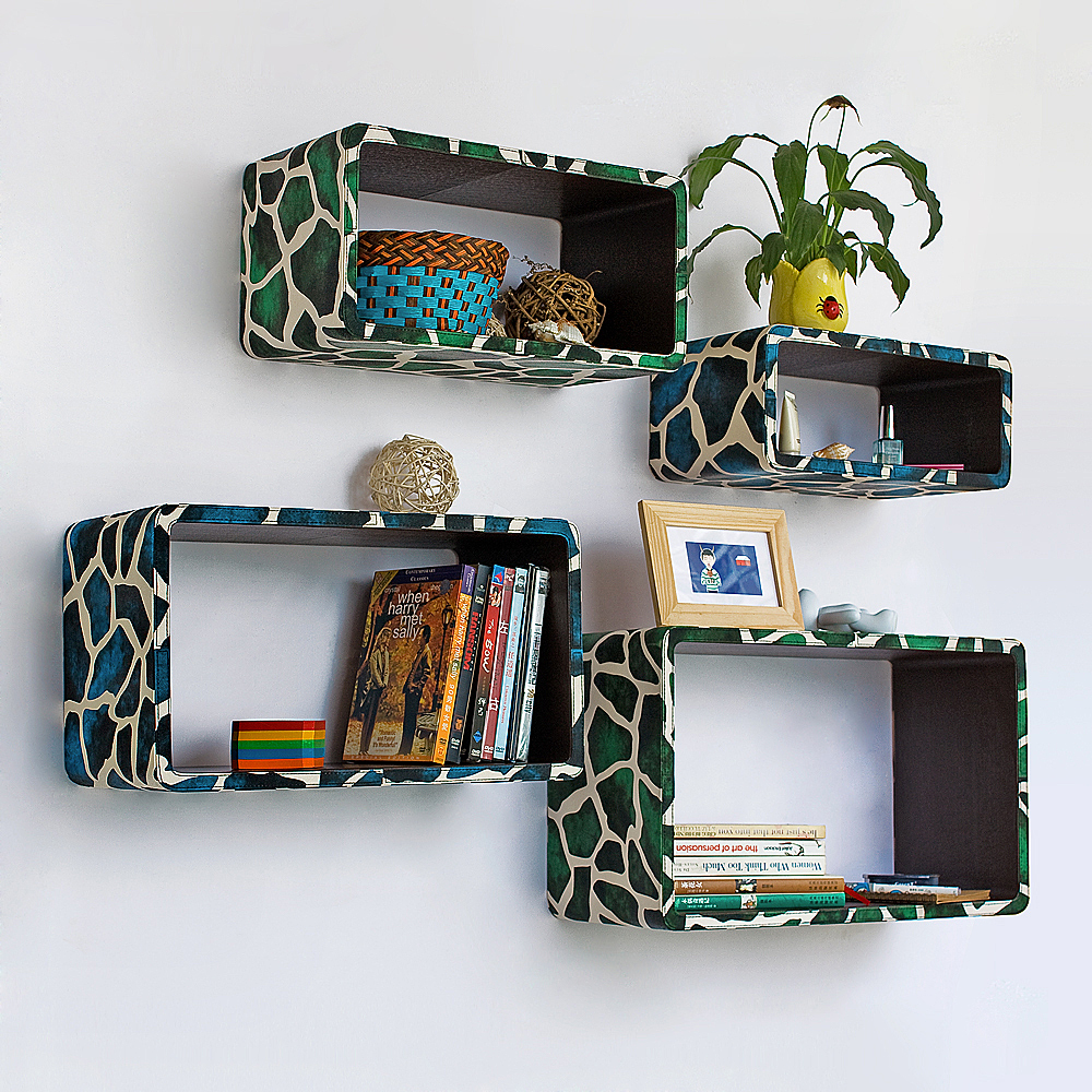 [Blue Green Giraffe] Rectangle Leather Wall Shelf(Set of 4)