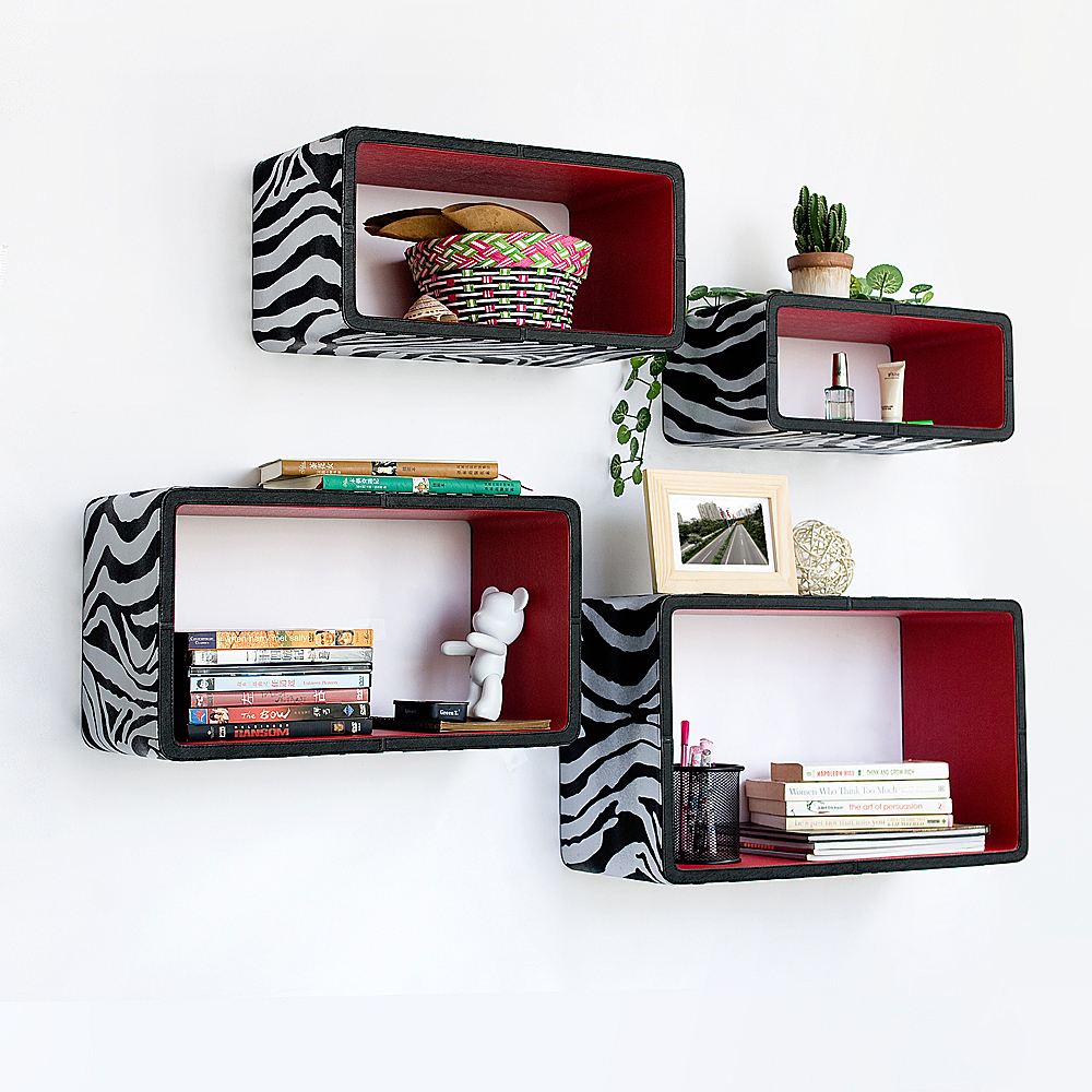 [Silver & Red Zebra] Rectangle Leather Wall Shelf(Set of 4)